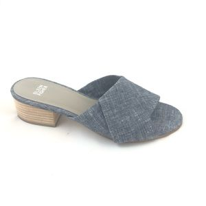 EILEEN FISHER Ruche Chambray Slide Sandals - Sz 9